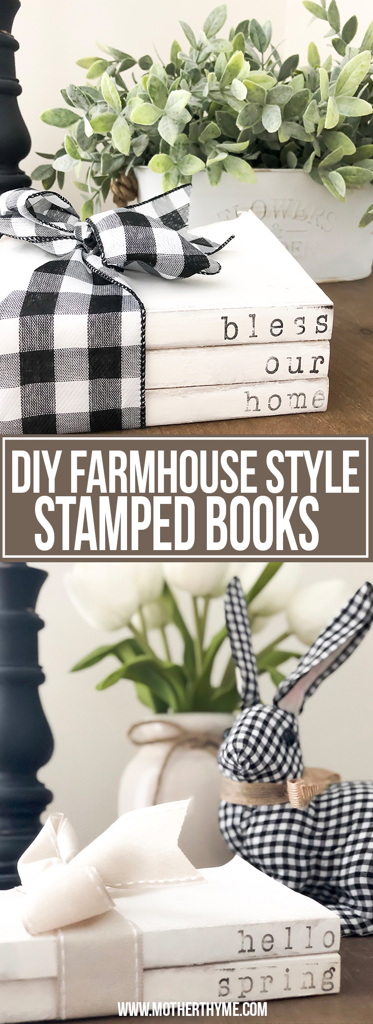 DIY FARMHOUSE STYLED STAMPED BOOKS