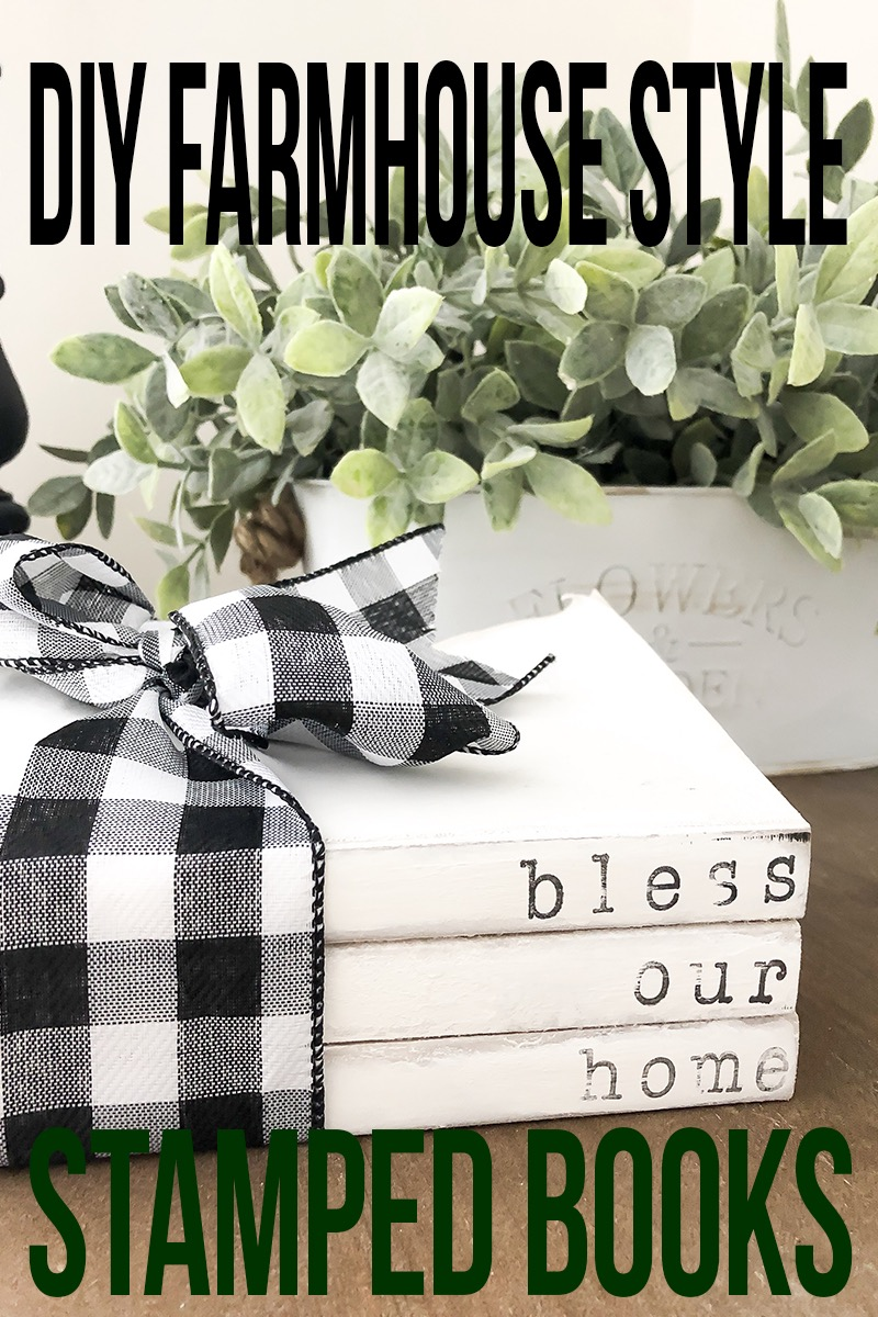 DIY FARMHOUSE STYLE STAMPED BOOKS