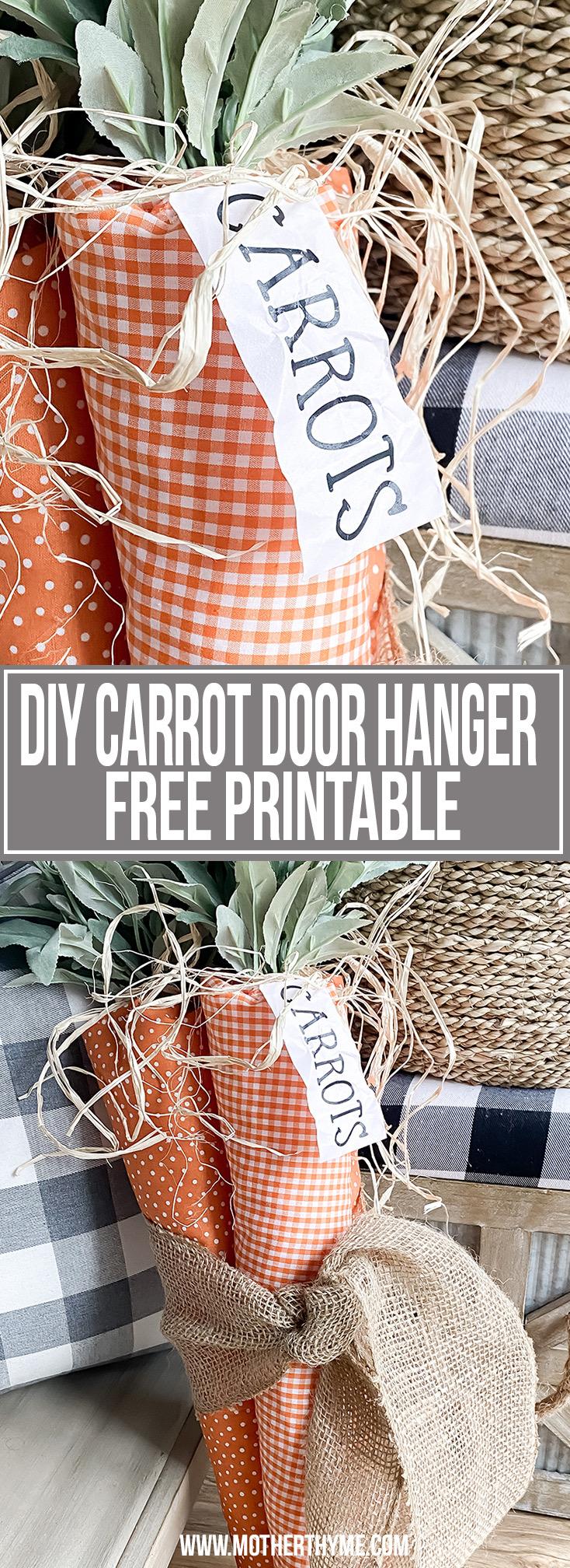 DIY CARROT DOOR HANGER - FREE PRINTABLE