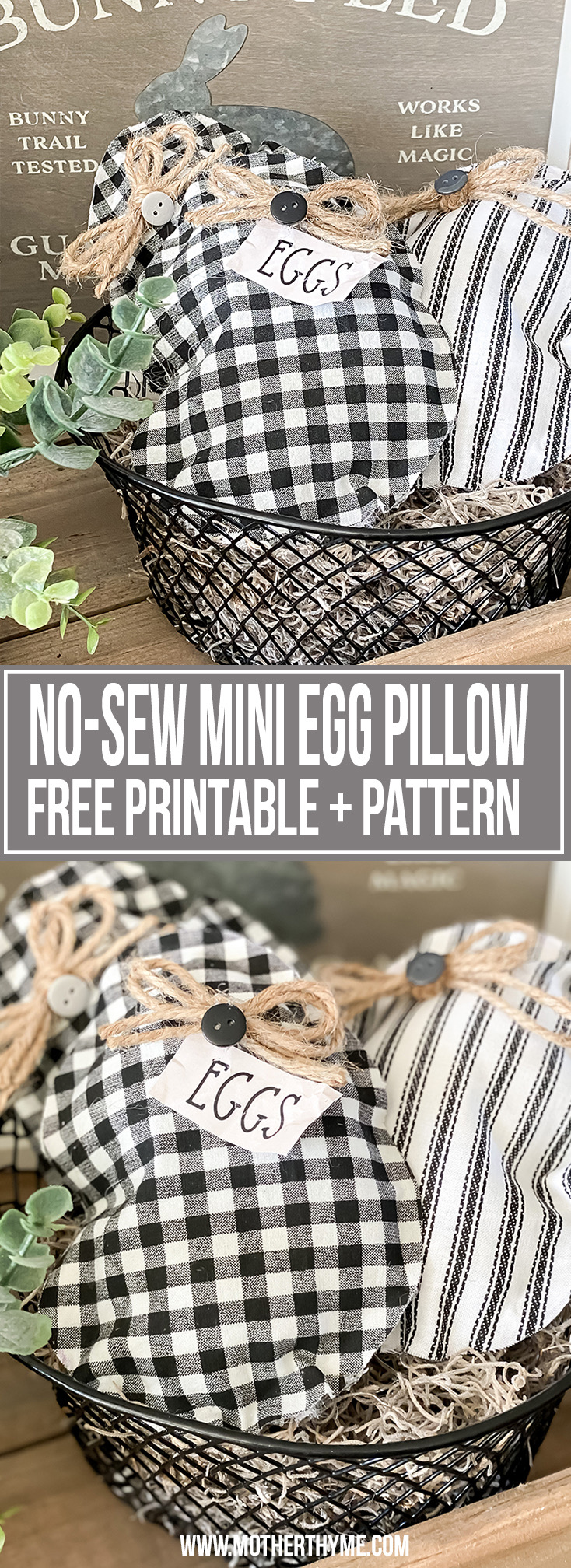 N0-SEW MINI EGG PILLOW - FREE PATTERN + PRINTABLE