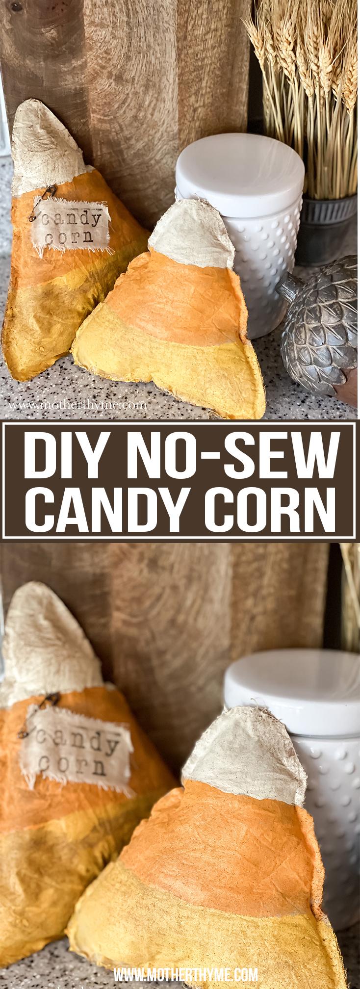 DIY NO-SEW RUSTIC FABRIC CANDY CORN