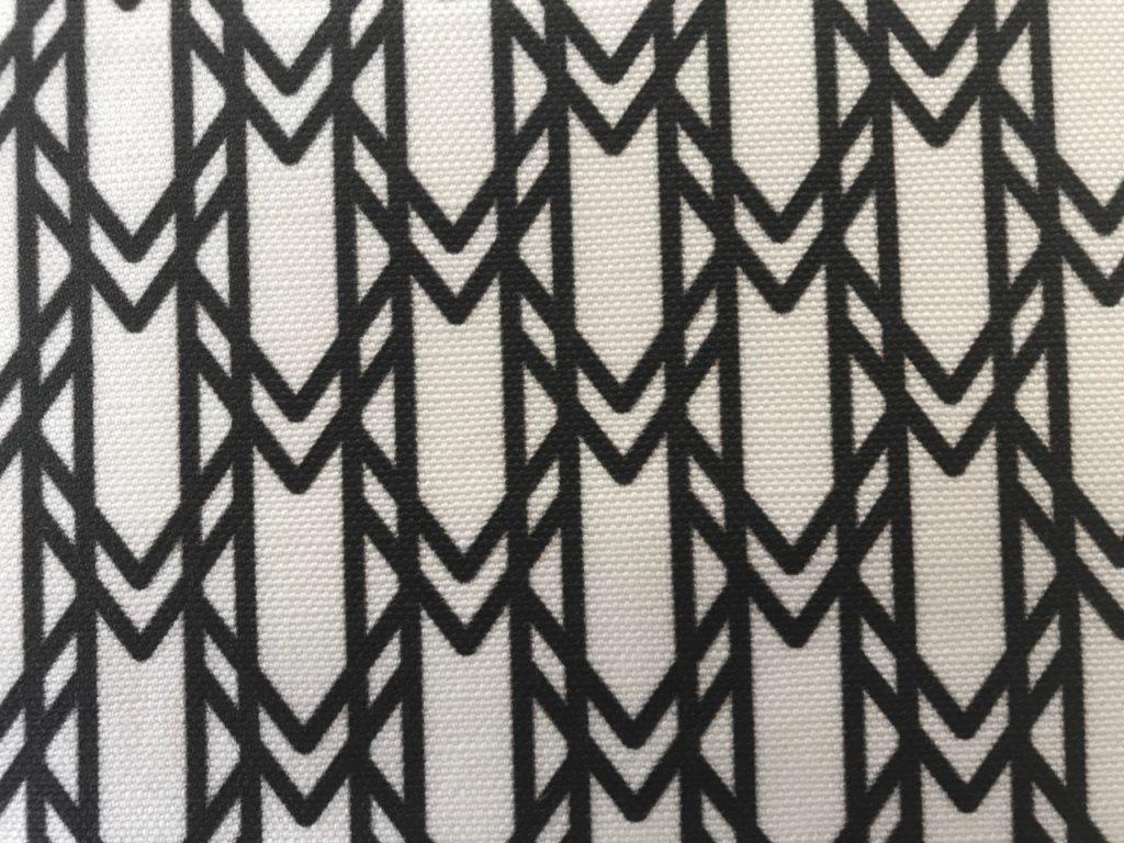 black and white geometric motif motif signature monogram linen cotton fabric detail