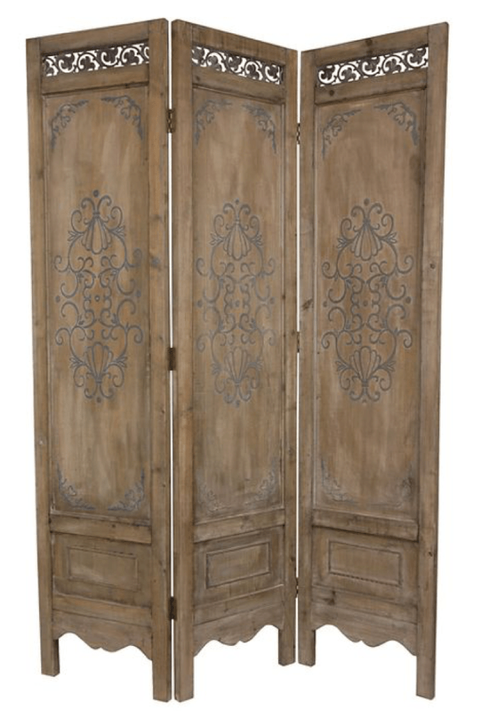 6 ft. Tall Antiqued Scrollwork Room Divider - Oriental Furniture