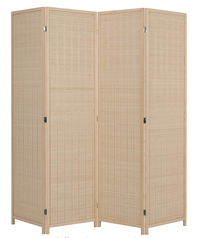 4 Panel Bamboo Room Divider, 6 ft. Tall Freestanding Double Hinged Natural Portable Folding Room Screens
