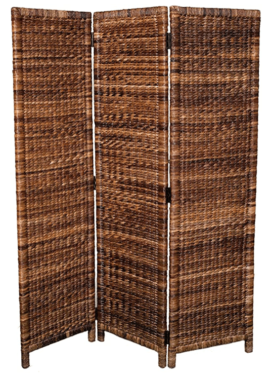 3 Panel Seagrass Room Divider - Folding Sections - Partition Screen - Handwoven Abaca