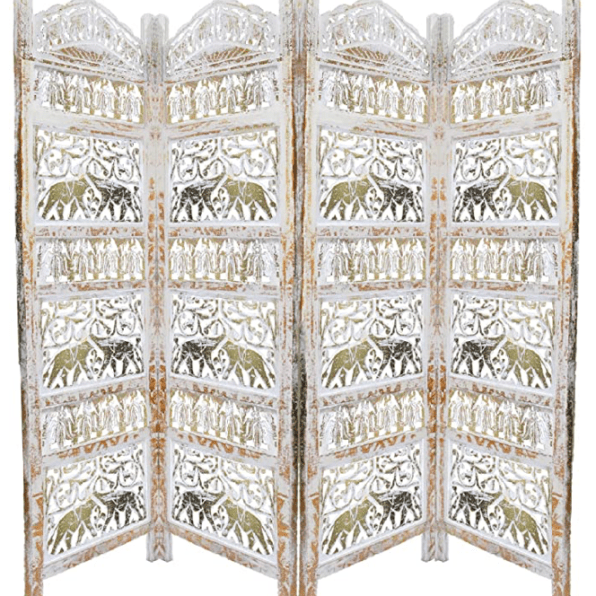 Gold and White 4 Panel Mango Wood Room Divider with Elephant Carvings