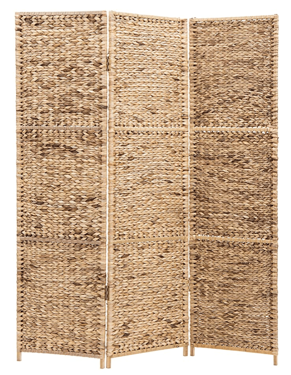 3-Panel Handwoven Seagrass Wood Framed Room Divider:Privacy Folding Screen, Brown