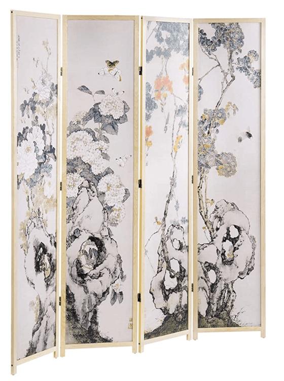 4-Panel Chinese Calligraphy Beige Wood Frame Folding Room Divider, Decorative Floral Design Screen