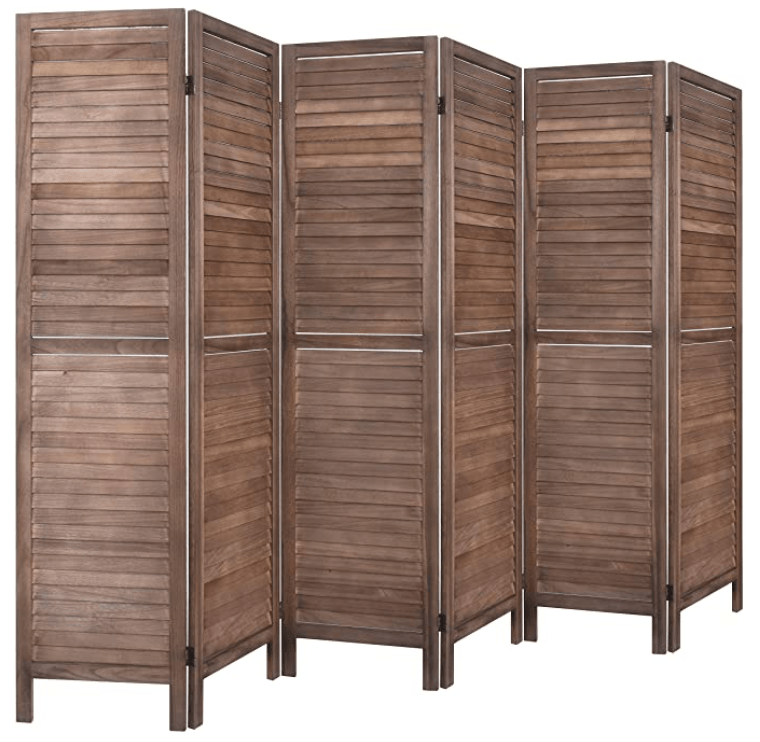 6 Panel 5.6 Ft Tall Wood Room Divider, Folding Room Divider Screens, Panel Screen Room Dividers, Folding Privacy Screens,Partition & Wall Divider,Space Seperater,Freestanding (6 Panel, Brown)
