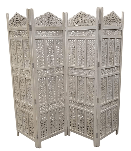 Antique 4 Panel Handcrafted Wooden Room Partitions, White