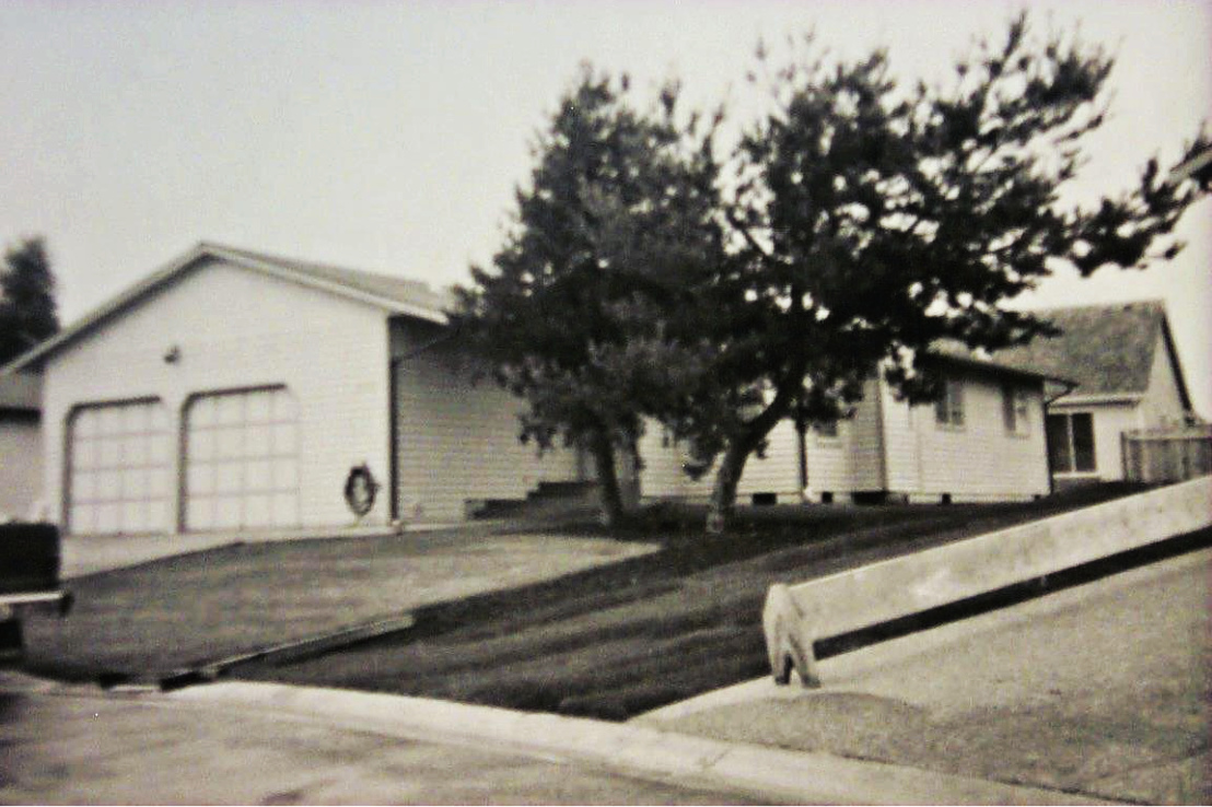 black and white picture of house behind tree