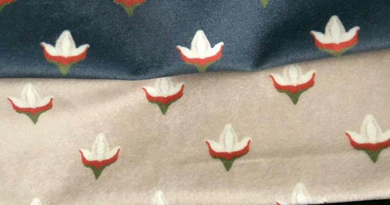 Block Print Maple Bud Velvet Fabrics