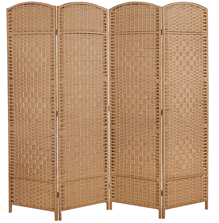 6 ft. Tall Room Divider and Folding Privacy Screen, Weave Fiber Foldable Panel Wall Divider with Diamond Pattern Weaved & 4 Panel Room Screen Divider Separator, Freestanding Room Divider