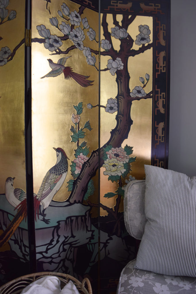 coromandel chinoiserie floor screen room divider hiding our elliptical