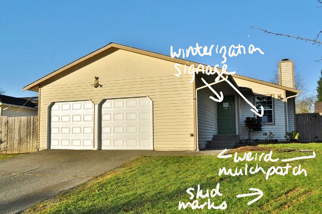 notes on first house picture showing winterization signs mulch skids marks