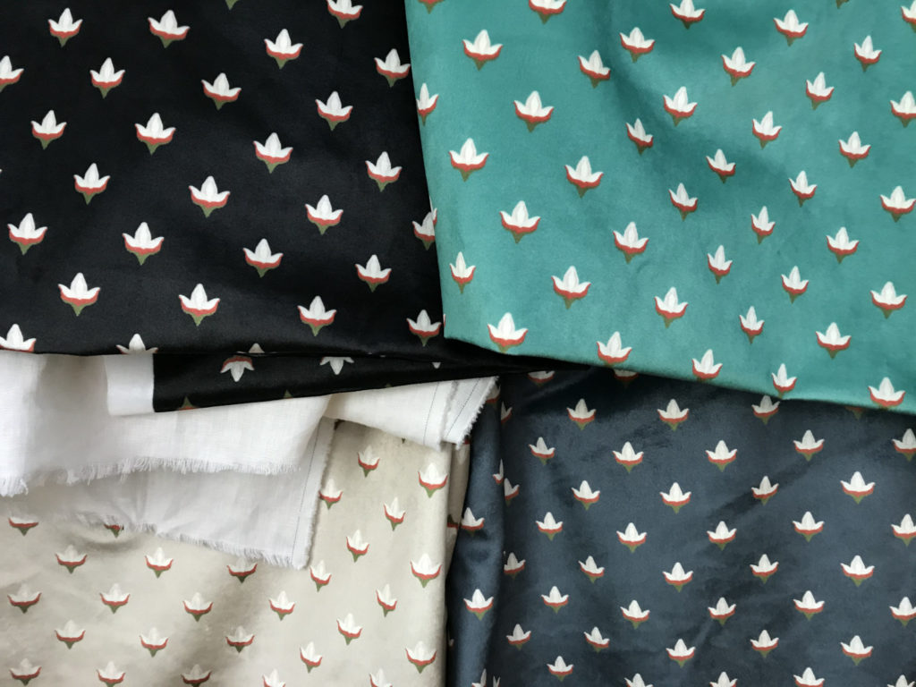 velvet fabric block print buds four colorways quadrants
