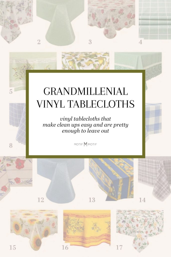 pin image of roundup for grandmillenial vinyl tablecloths