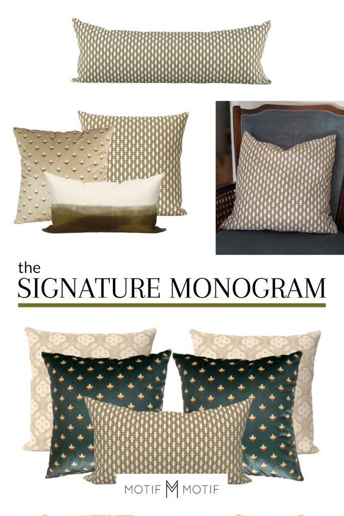 olive green signature monogram pillow combos