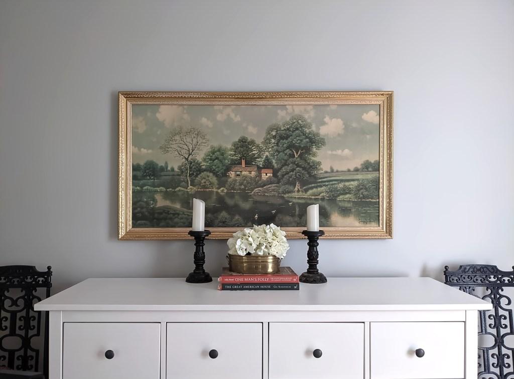 dining room ikea hemnes server landscape painting spring home tour