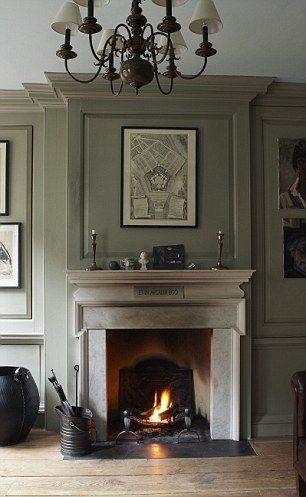 french gray fireplace wall