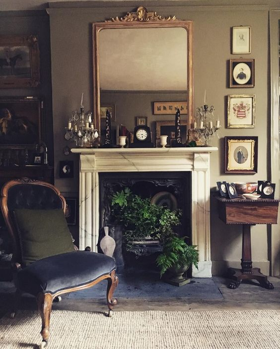 french gray marble fireplace styling