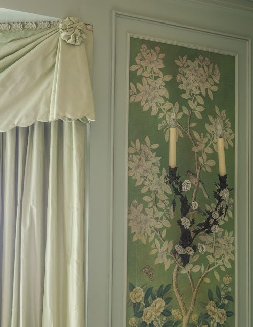 lena austin foster green curtains and wallpaper panel with tole sconce