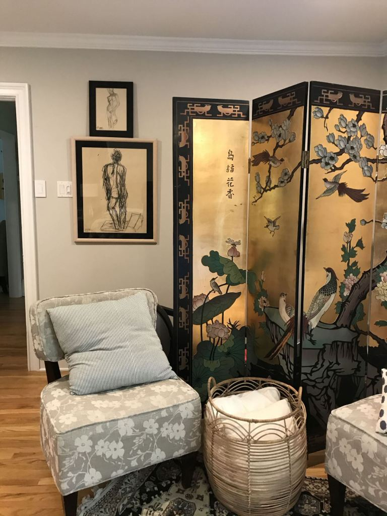 chinoiserie screen and nude charcoal sketches