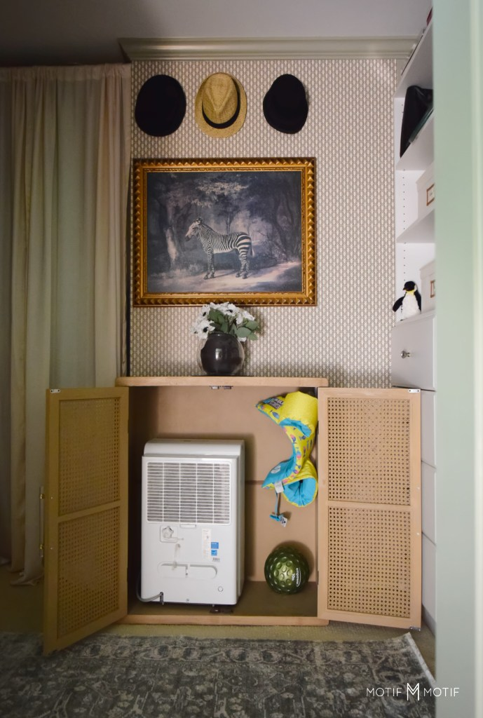 dehumidifier hidden in cane cabinet in walk in closet