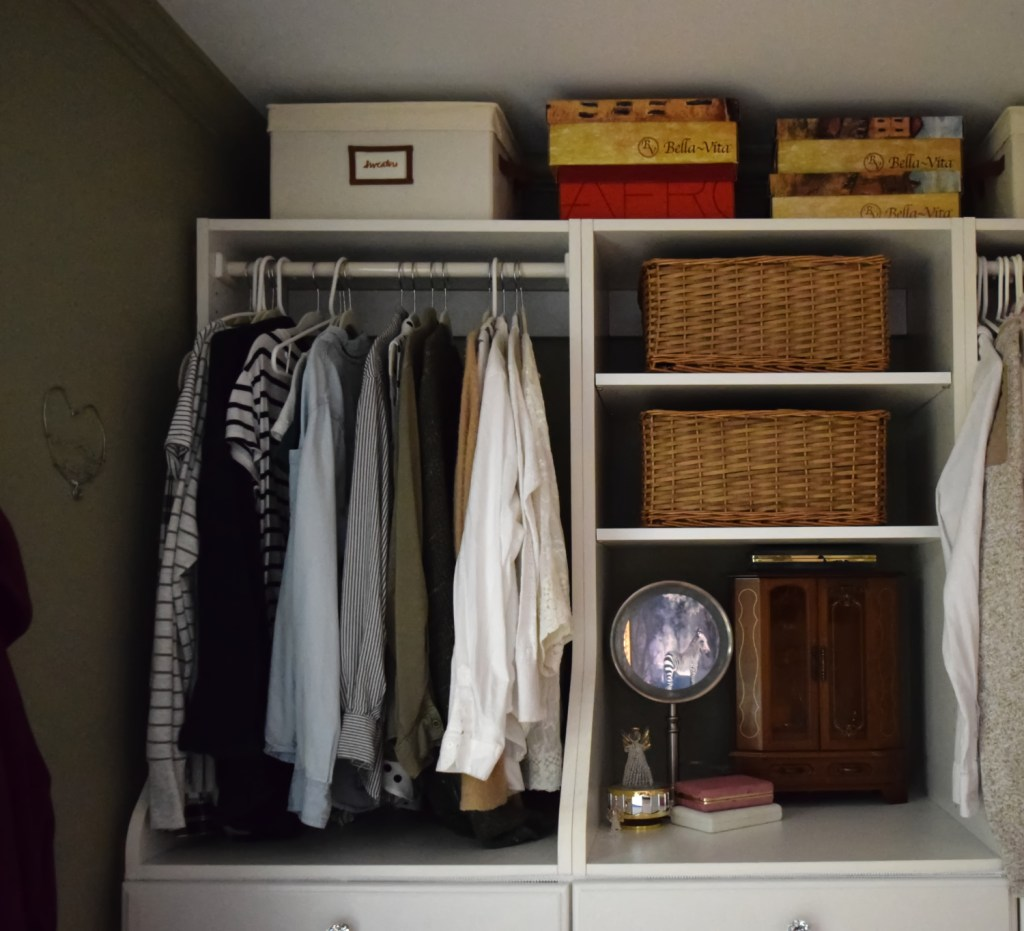 hanging clothes in walk in closet