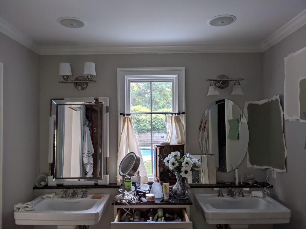 old sconces vs rotated with linen shades