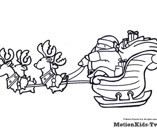 Coloring Christmas Pages And Drawings Dibujo Pintar Papa Noel Y Renos