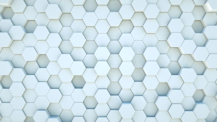 White Hexagon Blocks background animation.Moving Up and Down. 3d rendered Loop.  Abstract randomly moving White hexagon pattern looping background animation.