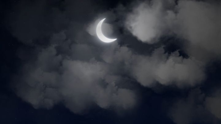 Clouds Passing Crescent Moon stock clip