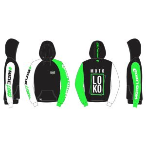 Green Boxed customised motorsports hoodie showing front and back