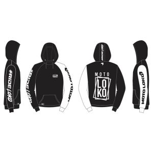 White Boxed customised motorsports hoodie showing front and back