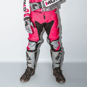 Front of adult pink engage motorsports pants