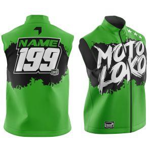 Front & back of green brushed motorsports softshell bodywarmer
