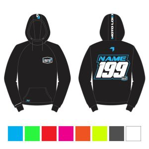 Blue hoodie mockup showing front and rear with customised Name and Number, with colour swatches below