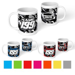 Multiple camo mugs with customised Name & Number on one side and MotoLoko logo on the other side. Colour swatch below