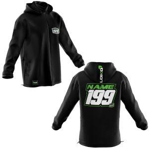 Front & back of black motorsports softshell jacket with green customisation