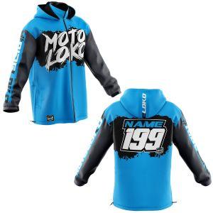 Front & back of blue brushed motorsports customisable softshell jacket