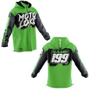 Front & back of green brushed motorsports customisable softshell jacket