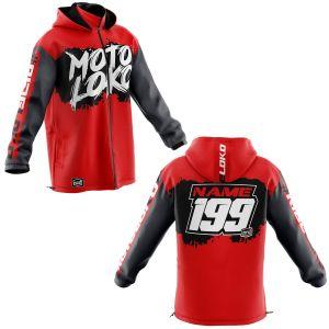 Front & back of red brushed motorsports customisable softshell jacket