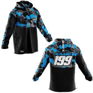 Front & back of blue camo motorsports customisable softshell jacket