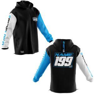 Front & back of premium motorsports softshell jacket with blue customisation