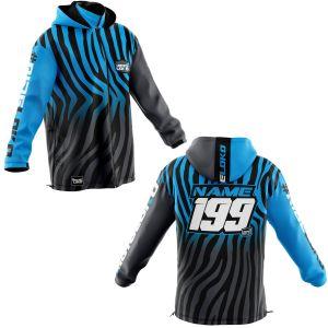 Front & back of black primal & blue motorsports customisable softshell jacket