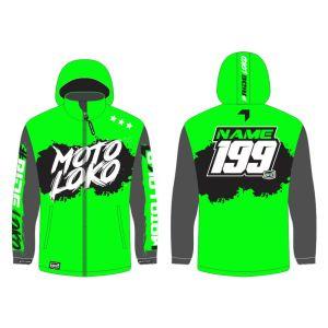 Green Brushed customised motorsports softshell jacket showing front and back