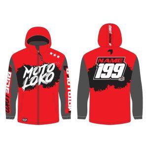 Red Brushed customised motorsports softshell jacket showing front and back