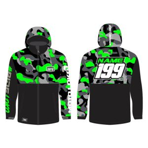 Green Camo customised motorsports softshell jacket showing front and back