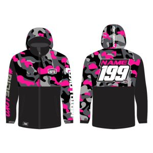 Pink Camo customised motorsports softshell jacket showing front and back